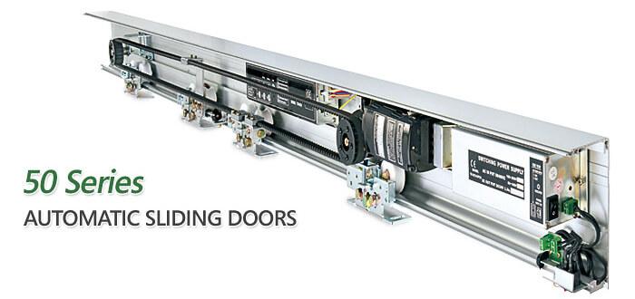 Automatic sliding doors swinging door and panic exit device